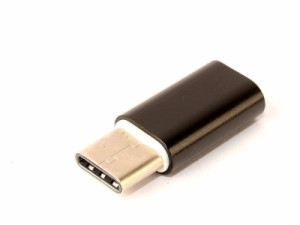 Micro USB メス to USB Type C オス 合金製 変換アダプタ コネクタ データ伝送 充電など#ブラック【新品/送料込み】
