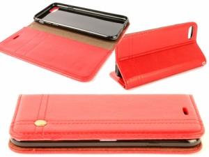 Apple iPhone 7 Plus iPhone 8Plus用 PUレザー カード収納 ビジネス 横開きタイプ ケース カバー#レッド 送料込