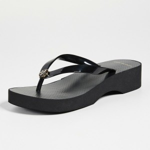 59289f0ce6b8 トリーバーチ ウェッジソール サンダル ブラック Tory Burch Wedge Thin Flip Flops Black 靴 シューズ ビーチ