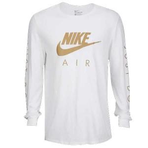 29a577dd22d334 NIKE ナイキ メンズ 長袖Tシャツ ホワイト ゴールド グラフィック ロングスリーブ Tシャツ Nike Graphic Long