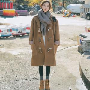 秋冬 コート ペア ダッフル アウター 防寒 あったか レディース 女性 大きいサイズ フード付き ロング丈 カジュアル お出かけ デート無地の画像