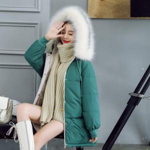 秋冬 コート ダウンコート ダウンジャケット アウター レディース ミドル丈 ファー フード付き あったか 大きいサイズ かわいい カジュアの画像
