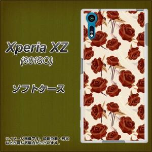 softbank Xperia XZ 601SO TPU ソフトケース / やわらかカバー【1157 クラシックローズ 素材ホワイト】 UV印刷 (softbank エクスペリアX