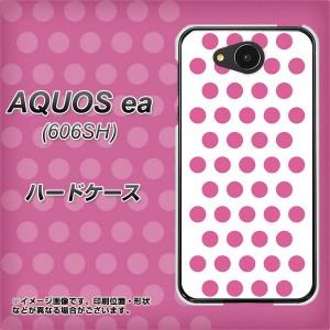 AQUOS ea 606SH ハードケース / カバー【VA913 ドット ホワイト×ピンク 素材クリア】(アクオスea 606SH/606SH用)