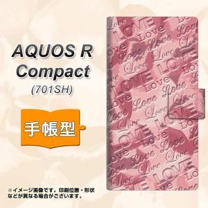 メール便送料無料 AQUOS R Compact 701SH 手帳型スマホケース 【 SC844 フラワーヴェルニLOVEピンク 】横開き (アクオスR コンパクト 701