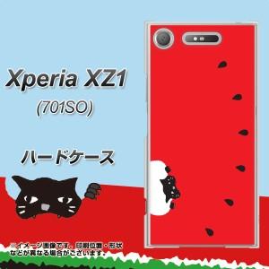 Xperia XZ1 701SO ハードケース / カバー【IA812 すいかをかじるネコ 素材クリア】(エクスペリア XZ1 701SO/701SO用)