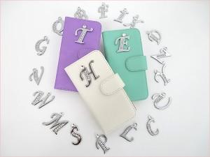 iPhone5s/5 iPhone5c 手帳型スマホケース【イニシャル+】アイフォン アイホン スマートフォンケース ラインストーン