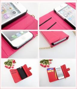 iPhone5 iPhone5s 手帳型 スマホケース【チェーン付き クロコ&バックル】キラキラ スマートフォンケース アイフォン