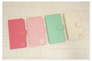 iPhone8 ケース 手帳型 スマホケース XPERIA SOV36 galaxy S8 全機種対応 イニシャル+ スワロフスキー かわいい きれい メール便送料無料