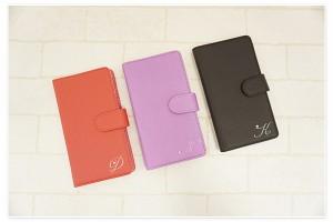 iPhone7 全機種対応 スマホケース 手帳型 イニシャル+ スワロフスキー XPERIA SOV33 SHV34 かわいい おしゃれ きれい メール便送料無料