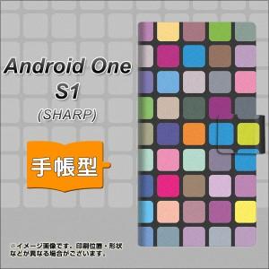 メール便送料無料 ワイモバイル Android One S1 手帳型スマホケース 【 509 カラースクエアー 】横開き (アンドロイドワン エスワン/ANDO