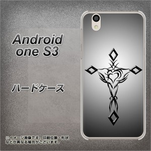 Y!mobile Android one S3 ハードケース / カバー【VA898 ハートのクロス ブラック 素材クリア】(Y!mobile アンドロイドワン S3/ANDONES3
