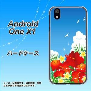 android one X1 ハードケース / カバー【VA821 ハイビスカスと青空 素材クリア】(アンドロイドワン X1/ANDONEX1用)