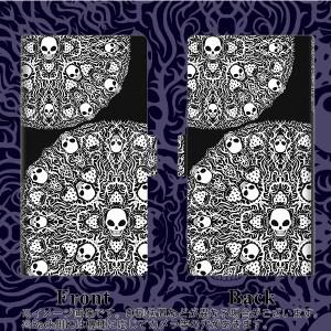 メール便送料無料 Galaxy Feel SC-04J 手帳型スマホケース 【 AG834 苺骸骨曼荼羅(黒) 】横開き (ギャラクシー フィール SC-04J/SC04J用/