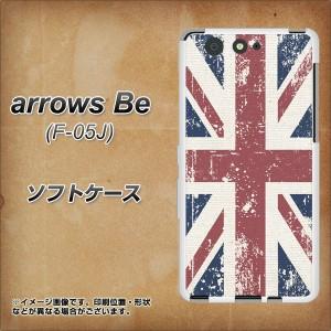 arrows Be F-05J TPU ソフトケース / やわらかカバー【506 ユニオンジャック-ビンテージ 素材ホワイト】(アローズ ビー F-05J/F05J用)