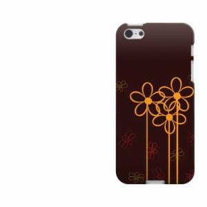 iPhone5 / iPhone5s 共用 (docomo/au/SoftBank) TPU ソフトケース / やわらかカバー【1192 オレンジの花 素材ホワイト】 UV印刷 (アイフ