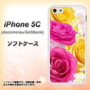 iPhone5c (docomo/au/SoftBank) TPU ソフトケース / やわらかカバー【1167 英国館のバラ 素材ホワイト】 UV印刷 (アイフォン5C/IPHONE5C