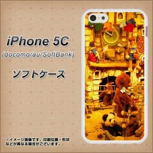 iPhone5c (docomo/au/SoftBank) TPU ソフトケース / やわらかカバー【EK872 ぬいぐるみの街 仕事中 素材ホワイト】 UV印刷 (アイフォン5