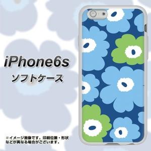 iPhone6s TPU ソフトケース / やわらかカバー【SC829 ルーズフラワー ブルー×ライトブルー 素材ホワイト】 UV印刷 (アイフォン6s/IPHON