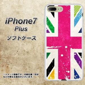 iPhone7 PLUS TPU ソフトケース / やわらかカバー【SC806 ユニオンジャック ピンクビンテージ 素材ホワイト】 UV印刷 (アイフォン7 プラ