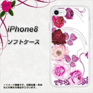 iPhone8 TPU ソフトケース / やわらかカバー【116 6月のバラ 素材ホワイト】(アイフォン8/IPHONE8用)