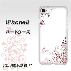 iPhone8 ハードケース / カバー【142 桔梗と桜と蝶 素材クリア】(アイフォン8/IPHONE8用)