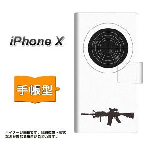 メール便送料無料 Apple iPhone X 手帳型スマホケース 【 EK930 ターゲット 銃 】横開き (アップル アイフォンX/IPHONEX用/スマホケース/