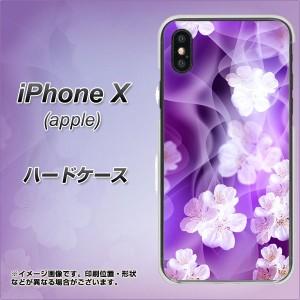 Apple iPhone X ハードケース / カバー【1211 桜とパープルの風 素材クリア】(アップル アイフォンX/IPHONEX用)