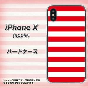 Apple iPhone X ハードケース / カバー【VA946 THE ボーダー赤 素材クリア】(アップル アイフォンX/IPHONEX用)