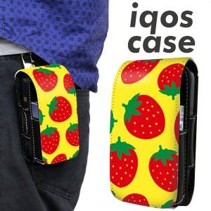 アイコス ケース レザー iQOS ケース SC819 大きいイチゴ模様 レッドとイエロー 新型 2.4Plus 対応 ギフト メール便送料無料
