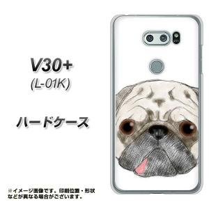 V30+ L-01K ハードケース / カバー【YD855 パグ01 素材クリア】(V30プラス L-01K/L01K用)