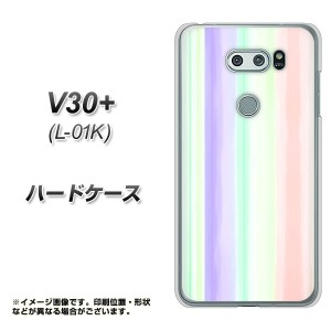 V30+ L-01K ハードケース / カバー【YJ309 ストライプ 素材クリア】(V30プラス L-01K/L01K用)