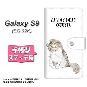 メール便送料無料 docomo Galaxy S9 SC-02K 手帳型スマホケース 【ステッチタイプ】 【 YE970 アメリカンカール01 】横開き (ギャラクシ