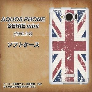 au AQUOS PHONE SERIE mini SHL24 TPU ソフトケース / やわらかカバー【506 ユニオンジャック-ビンテージ 素材ホワイト】 UV印刷 (アク