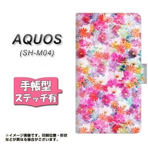 メール便送料無料 AQUOS SH-M04 手帳型スマホケース 【ステッチタイプ】 【 SC874 リバティプリント プレスドフラワー ピンク 】横開き (