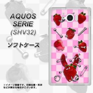 au AQUOS SERIE SHV32 TPU ソフトケース / やわらかカバー【AG832 苺パンク(ピンク) 素材ホワイト】 UV印刷 (アクオスセリエ shv32/SHV