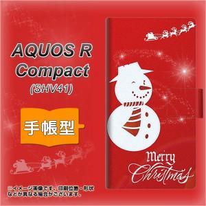 メール便送料無料 AQUOS R Compact SHV41 手帳型スマホケース 【 XA802 ウインク雪だるま 】横開き (アクオスR コンパクト SHV41/SHV41用