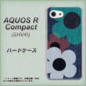AQUOS R Compact SHV41 ハードケース / カバー【EK869 ルーズフラワーinデニム 素材クリア】(アクオスR コンパクト SHV41/SHV41用)