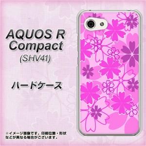 AQUOS R Compact SHV41 ハードケース / カバー【VA961 重なり合う花 ピンク 素材クリア】(アクオスR コンパクト SHV41/SHV41用)