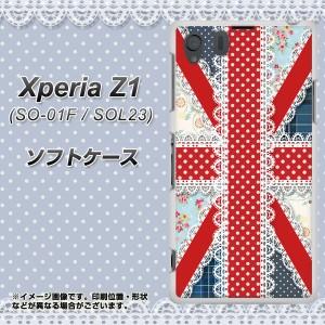 Xperia Z1 SO-01F / SOL23 共用 (docomo/au) TPU ソフトケース / やわらかカバー【SC805 ユニオンジャック レース 素材ホワイト】 UV印刷