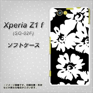 docomo XPERIA Z1 f SO-02F TPU ソフトケース / やわらかカバー【1215 モダンフラワー 素材ホワイト】 UV印刷 (エクスぺリアZ1 f/SO02F