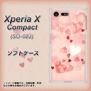 docomo Xperia X Compact SO-02J TPU ソフトケース / やわらかカバー【1125 ハートの和紙 素材ホワイト】 UV印刷 (docomo エクスペリアX
