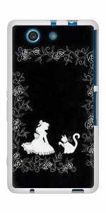 docomo XPERIA A4 SO-04G TPU ソフトケース / やわらかカバー【1097 お姫様とネコ(モノトーン) 素材ホワイト】 UV印刷 (エクスペリアA4/