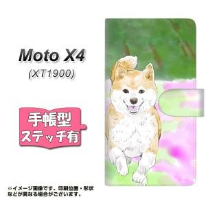 メール便送料無料 Moto X4 XT1900 手帳型スマホケース 【ステッチタイプ】 【 YJ014 柴犬2 】横開き (モト X4 XT1900/XT1900用/スマホケ