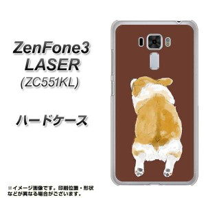ZenFone3 Laser ZC551KL ハードケース / カバー【YJ029 コーギー 後ろ向き 茶  素材クリア】(ゼンフォン3レーザー ZC551KL/ZC551KL用)