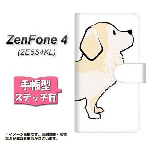 メール便送料無料 ZenFone4 ZE554KL 手帳型スマホケース 【ステッチタイプ】 【 YJ171 犬 Dog ゴールデンレトリバー 】横開き (ゼンフォ