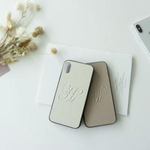 多機種対応 スマホケース リアケース Simple -エレガント-イニシャル 刻印 くすみカラー メール便送料無料 iPhone12 mini Xperia10 II