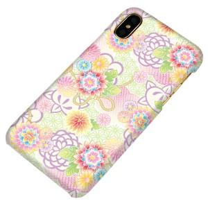 7abd973935 Apple iPhone X ハードケース【まるっと印刷 1240 パステルの菊 光沢仕上げ