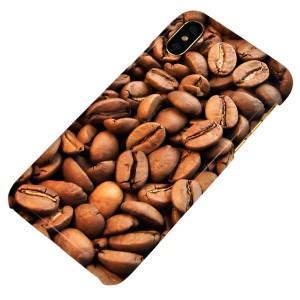 Apple iPhone X ハードケース【まるっと印刷 1309 リアルコーヒー豆 光沢仕上げ】 横まで印刷(アップル アイフォンX/IPHONEX用)