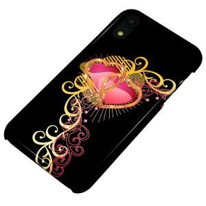 32c8fc6e55 Apple iPhone XR ハードケース【まるっと印刷 414 ダブルハート 光沢仕上げ】